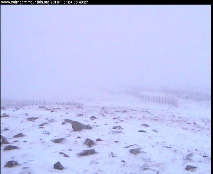 Snow lying on Cairngorm Mountain, courtesy of cairngormmountain.org .
