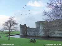 The castle and moat at Beaumaris.