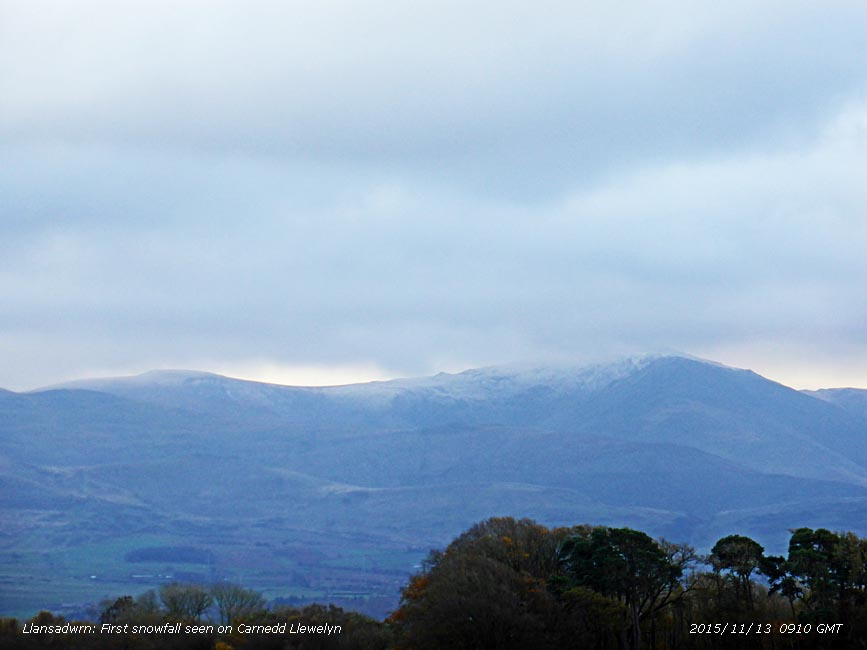 First snow of the season on the Carneddau Mountains.