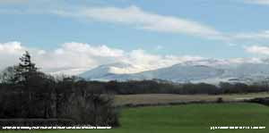 Snow in the morning  covered the Carneddau Mountains to a low level.